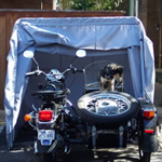 Trike bike cover, sidecar storage, Smart Car cover