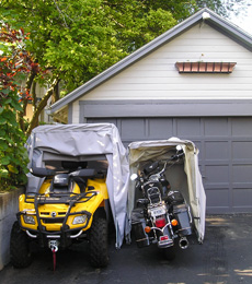 Portable ATV fits in bike barn touring model cover