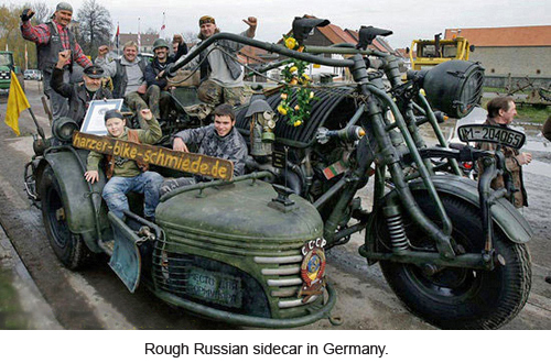 Rough Russian sidecar in Germany.